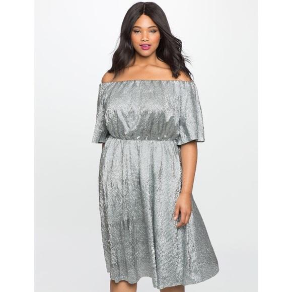 Eloquii Dresses & Skirts - ELOQUII Studio Textured Off the Shoulder Dress
